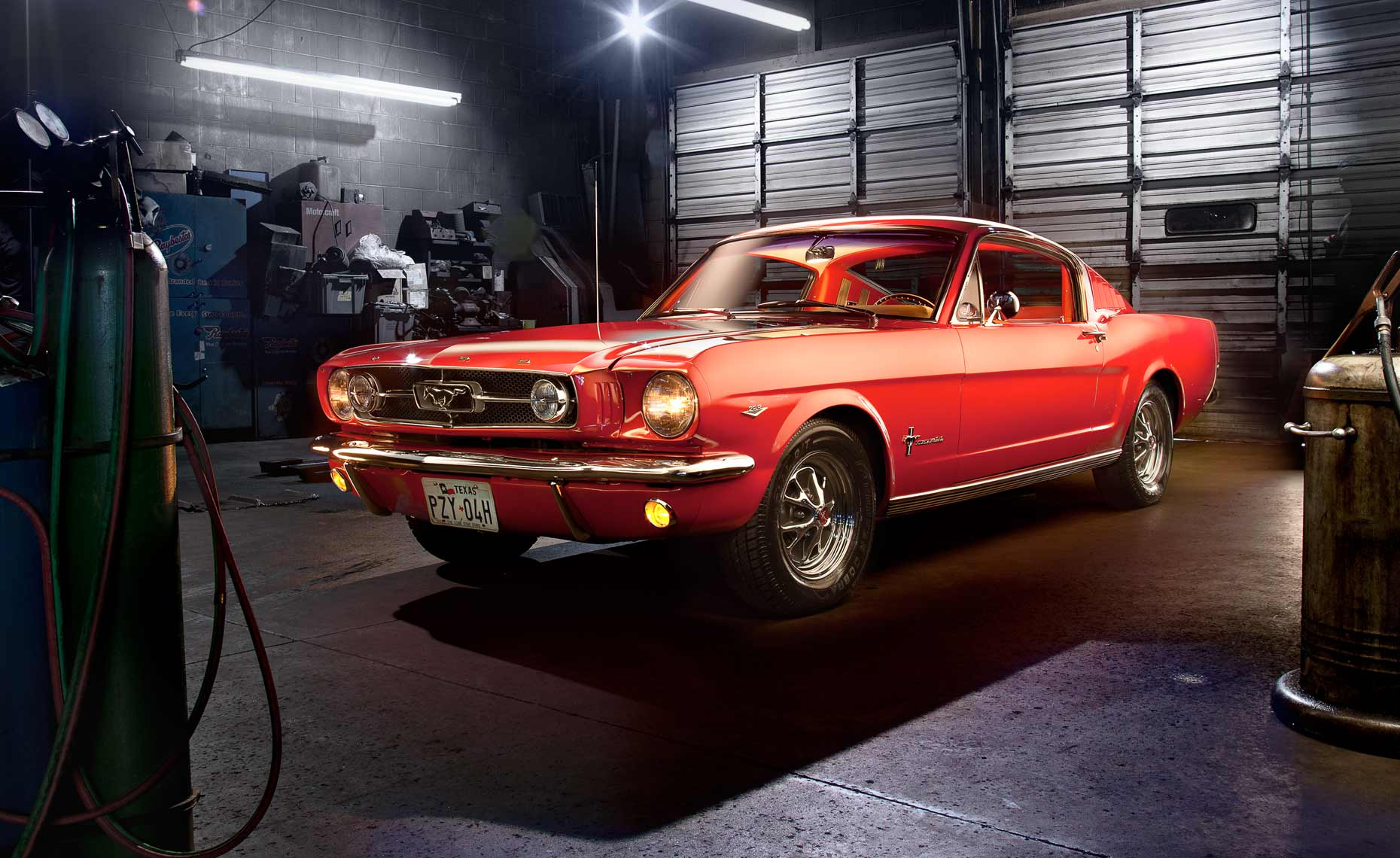 Red-mustang-garage-shop